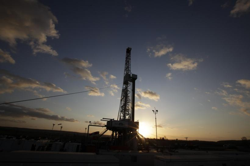 File shot of drilling rig at shale gas well.