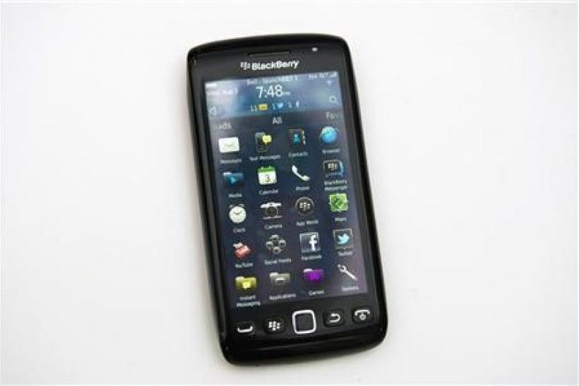 A Blackberry Torch 9860 is displayed at a release party to promote the BlackBerry OS 7 devices in Toronto August 3, 2011.