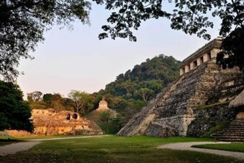 A general view shows the exterior of the tomb of a Mayan ruler at the ruins of the Mayan city of Palenque in the hills of the southern Mexican state of Chiapas in this undated handout photo by the National Institute of Anthropology and History (INAH) rele