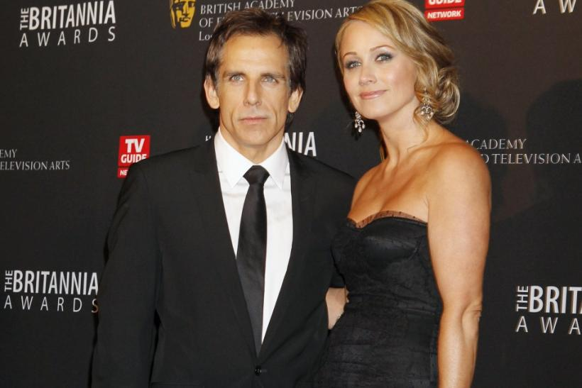 Actor Ben Stiller and wife, actress Christine Taylor pose as they arrive at the British Academy of Film and Television Arts Los Angeles Britannia Awards in Beverly Hills, California