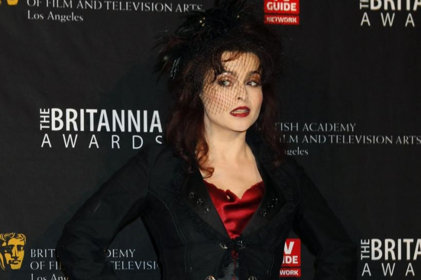 Actress Helena Bonham Carter poses as she arrives at the British Academy of Film and Television Arts Los Angeles Britannia Awards in Beverly Hills, California