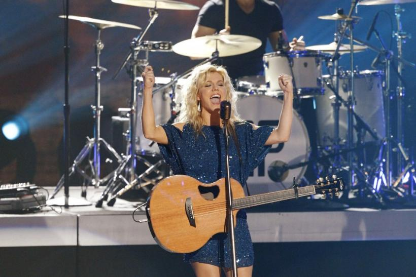 Kimberly Perry of The Band Perry performs at a concert announcing nominations for the 2012 Grammy Awards, at Nokia theatre in Los Angeles