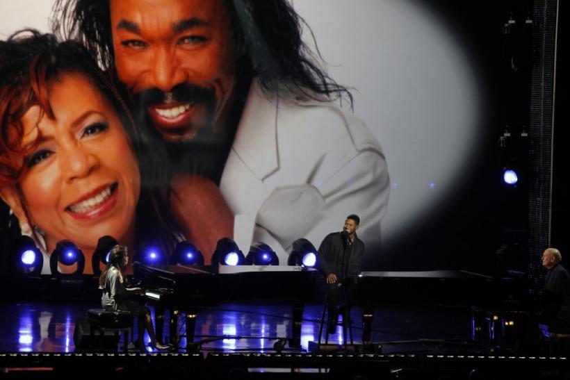 Usher (C), Valerie Simpson (L) and Mike Stoller perform a medley at the Grammy Nominations Concert Live - Countdown to the Music's Biggest Night event at Nokia theatre in Los Angeles