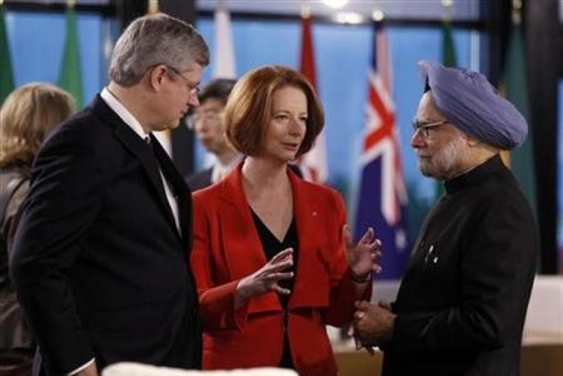 Julia Gillard, Stephen Harper and Manmohan Singh