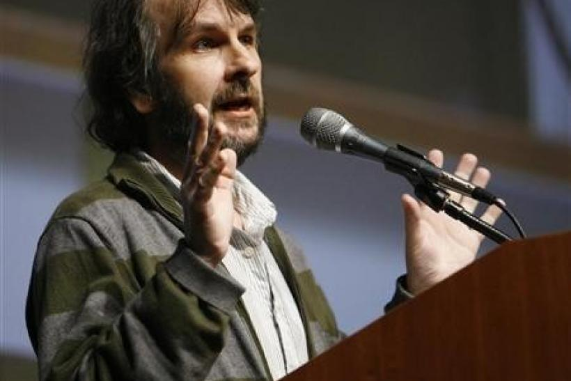 Producer Peter Jackson speaks before a preview and panel session for the upcoming movie ''District 9'' during the 40th annual Comic Con Convention in San Diego