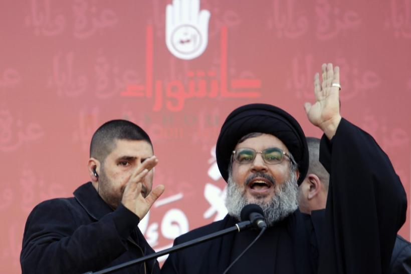 Lebanon's Hezbollah leader Hassan Nasrallah speaks during a Muharram procession to mark Ashoura in Beirut