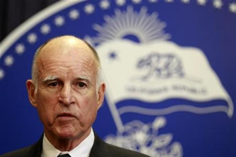 California Governor Jerry Brown speaks after vetoing the budget passed the day before by state legislators in Los Angeles, California