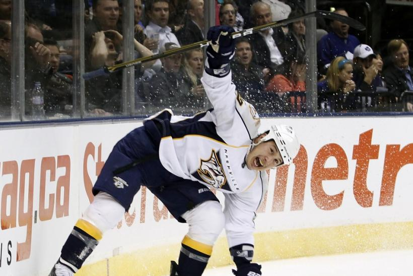 Predators' Tootoo celebrates his goal against Maple Leafs during the first period of their NHL hockey game in Toronto