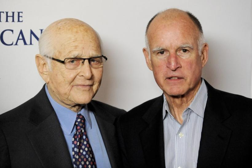 Writer and producer Norman Lear (L) and California Governor Jerry Brown arrive at the 30th anniversary of the People For The American Way Foundation celebration in Beverly Hills, California