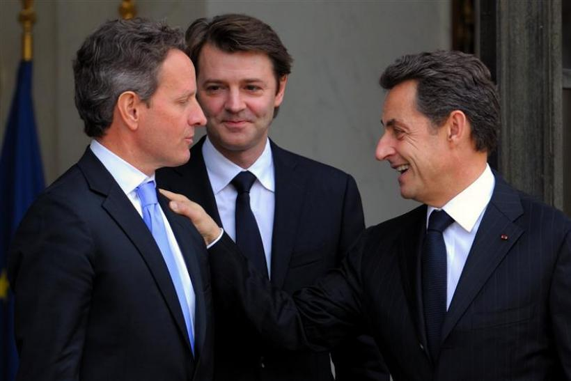 France's President Sarkozy and Finance and Economy Minister Baroin accompany US Treasury Secretary Geithner at the Elysee Palace in Paris