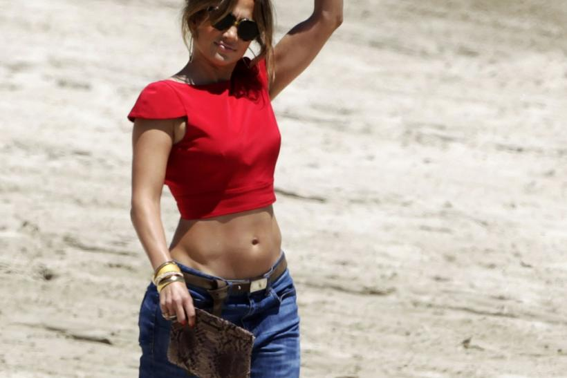 "Actress and singer Jennifer Lopez arrives to judge at an audition for her show ""Q'Viva: The Chosen"" at the Ingleses beach in Montevideo"