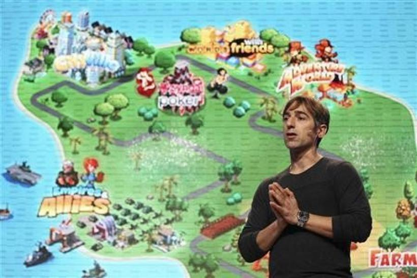 Zynga CEO Mark Pincus speaks during the Zynga Unleashed event at the company's headquarters in San Francisco, California