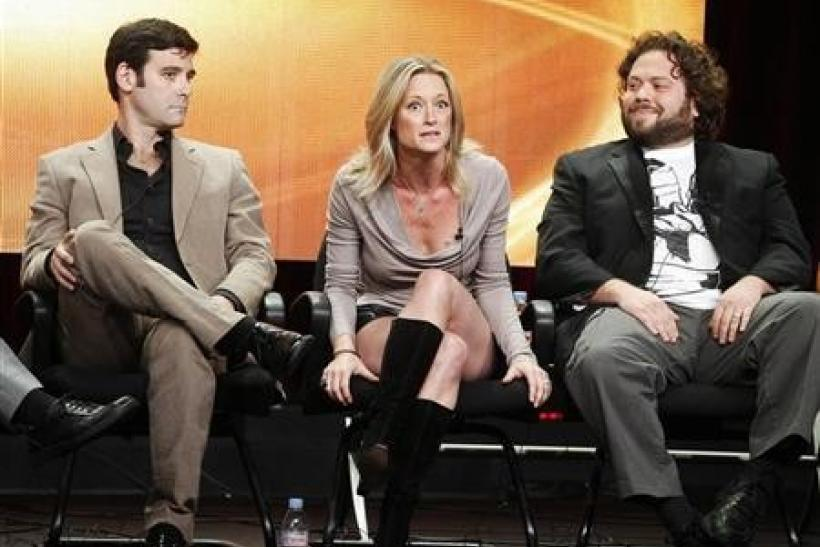 Actors Mather Zickel (L-R), Teri Polo and Dan Fogler, stars of the new comedy series ''Man Up'', take part in a panel session at the ABC Summer TCA Press Tour in Beverly Hills , California