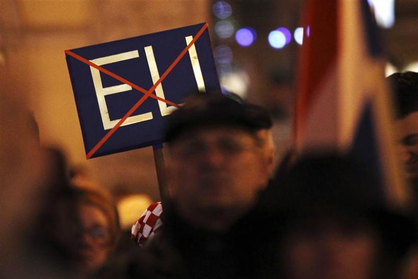Eurosceptic protesters demonstrate against Croatia's signing of the EU accession treaty at Zagreb's main square