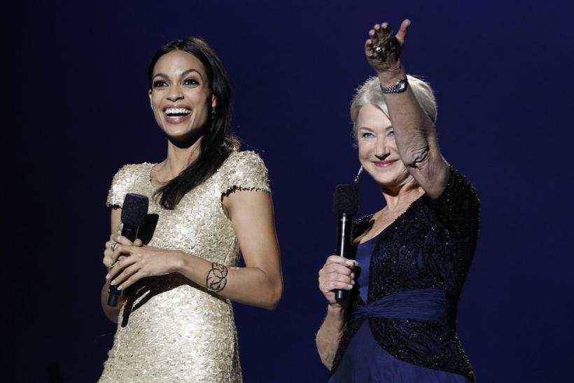 Actors Rosario Dawson (L) and Helen Mirren host the annual Nobel Peace Prize Concert in Oslo