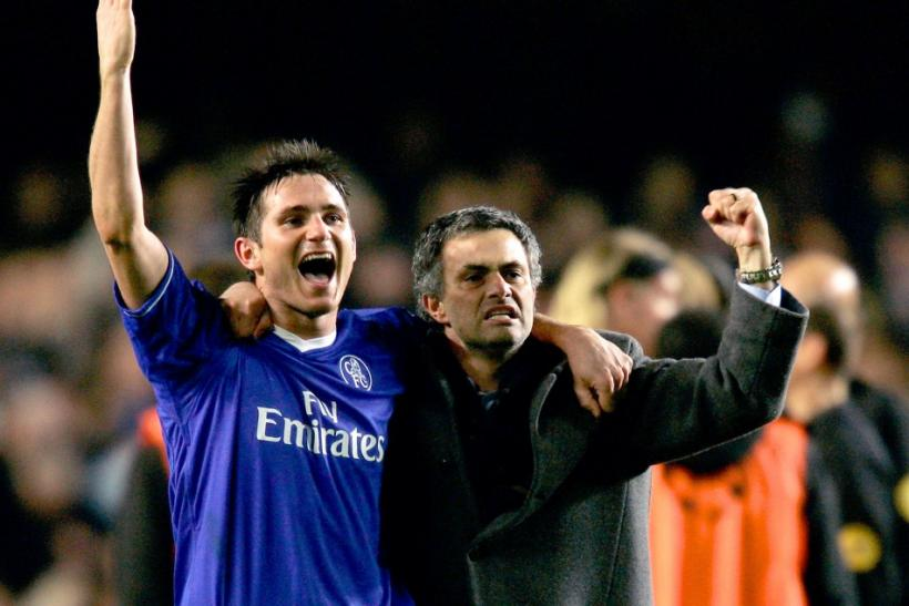 Frank Lampard with Jose Mourinho