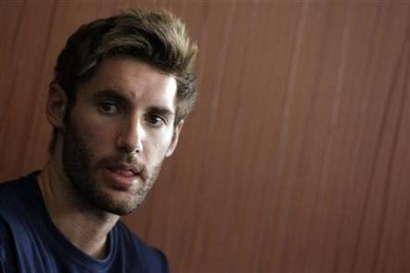 Spanish guard Rudy Fernandez during a meeting with media in Izmir