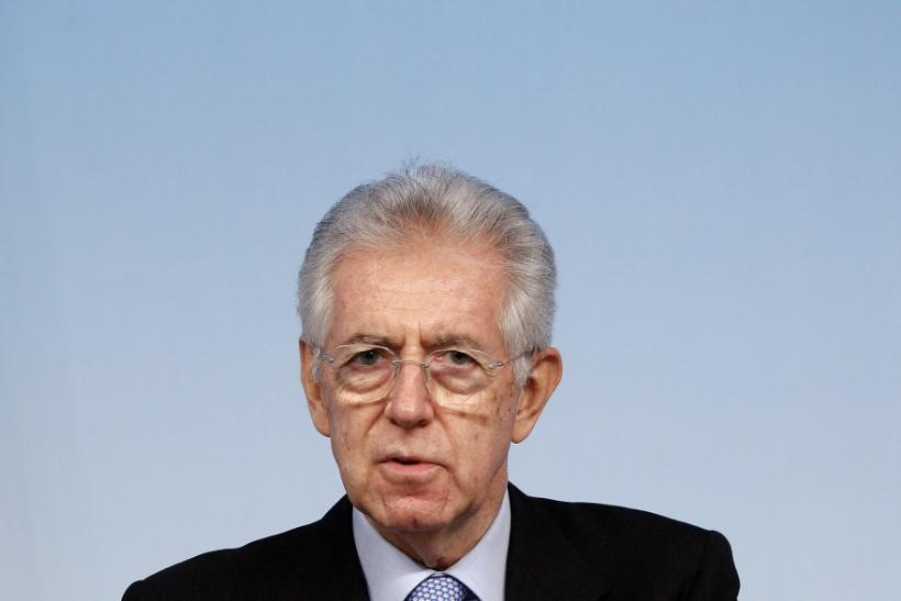 Italy's PM Monti speaks during a news conference in Rome