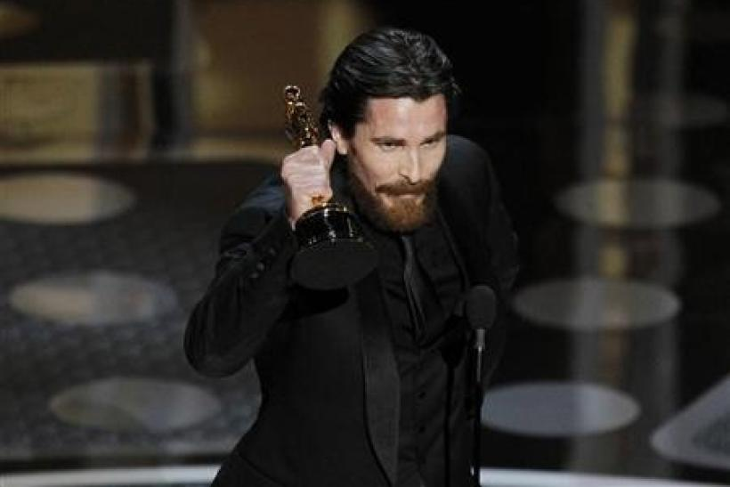 British actor Christian Bale accepts the Oscar for best supporting actor for his role in ''The Fighter'' during the 83rd Academy Awards in Hollywood, California