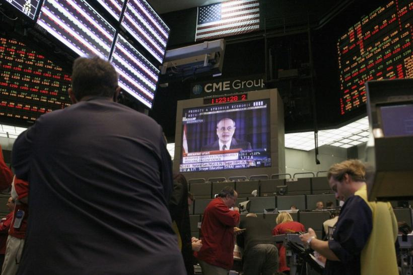 Ben Bernanke on screen at the Chicago Mercantile Exchange.