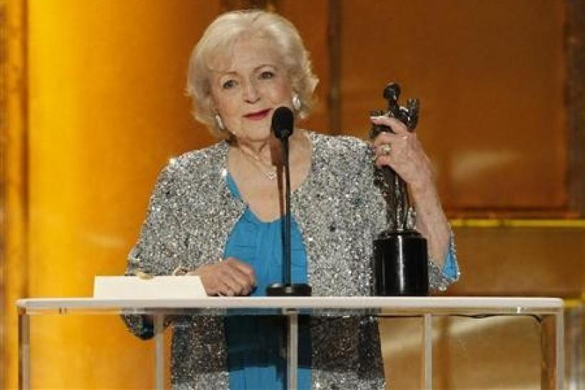 Betty White accepts the award for outstanding female actor in a comedy series for her role in ''Hot in Cleveland'' at the 17th annual Screen Actors Guild Awards in Los Angeles, California