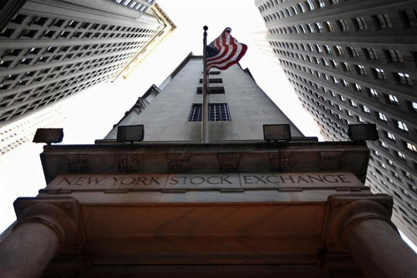 The U.S. flag hangs outside the New York Stock Exchange