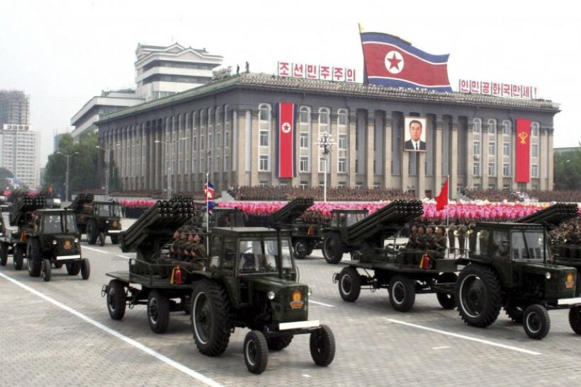 North Korean soldiers attend a military parade in the Kim Il-Sung Square in Pyongyang