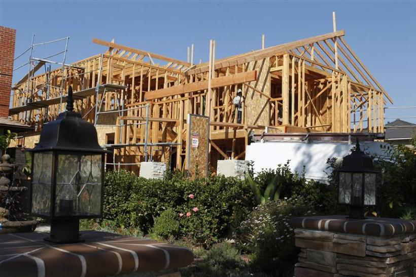 The framework for a single family home currently under construction is seen in Los Angeles