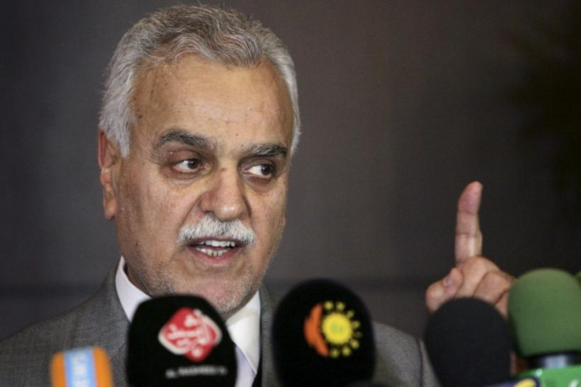 Iraq's Vice President Tareq al-Hashemi speaks at a news conference in in Erbil