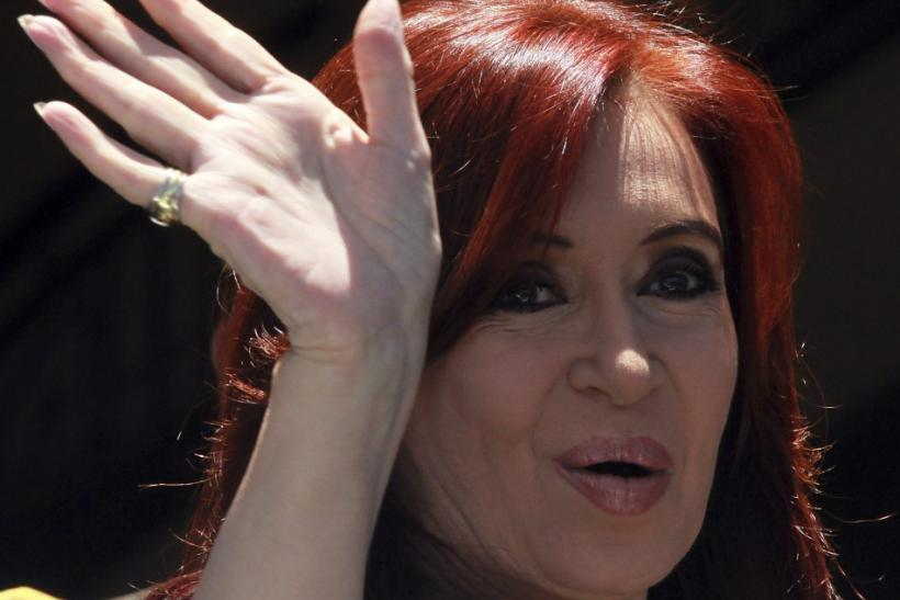 Argentina's President Cristina Fernandez arrives at the Mercosur trade block summit in Montevideo