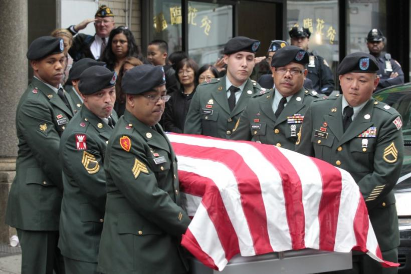 The casket of U.S. Army Private Danny Chen