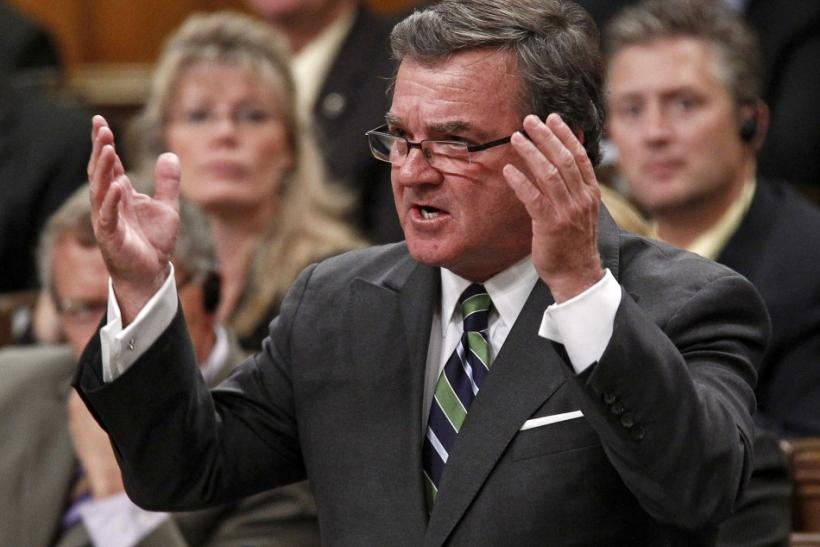 Canada's Finance Minister Flaherty speaks in the House of Commons in Ottawa
