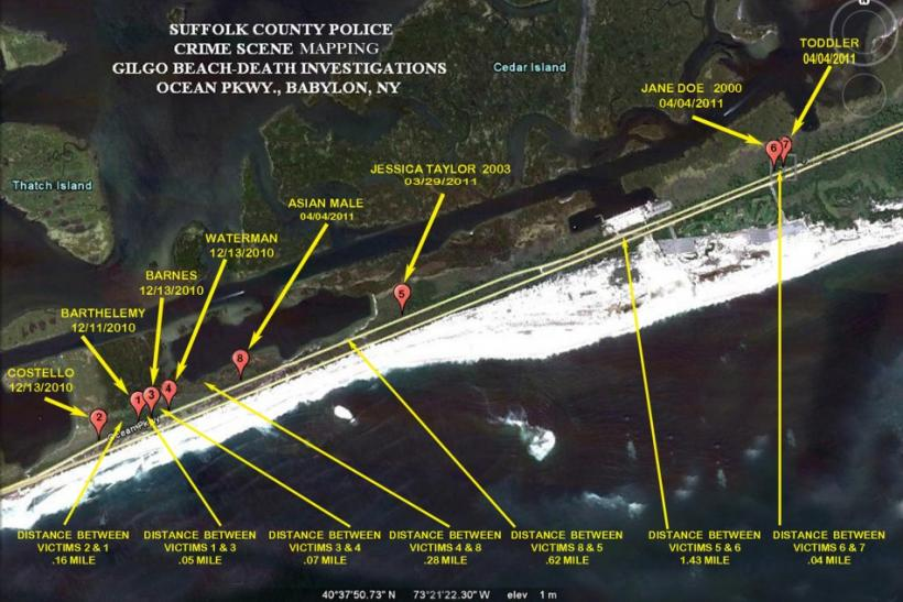 Suffolk County Police image shows the locations where eight of 10 bodies were found near Gilgo Beach since December 2010
