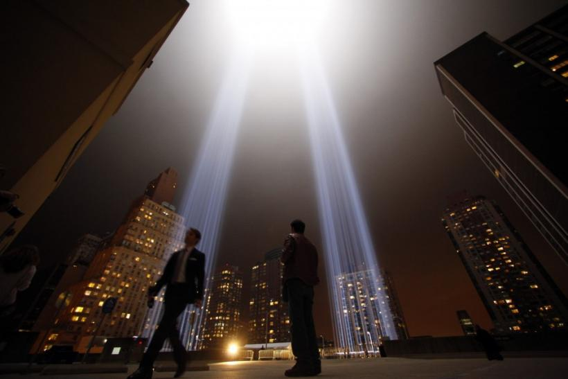 "The ""Tribute in Lights"" illuminates the sky over lower Manhattan on the 10th anniversary of the 9/11 attacks on the World Trade Center in New York"