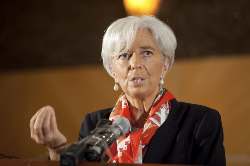 International Monetary Fund's Managing Director Christine Lagarde addresses a roundtable discussion in Lagos