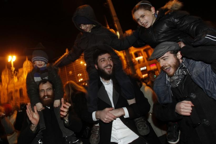 Members of Hungary's Jewish community gather to celebrate Hanukkah