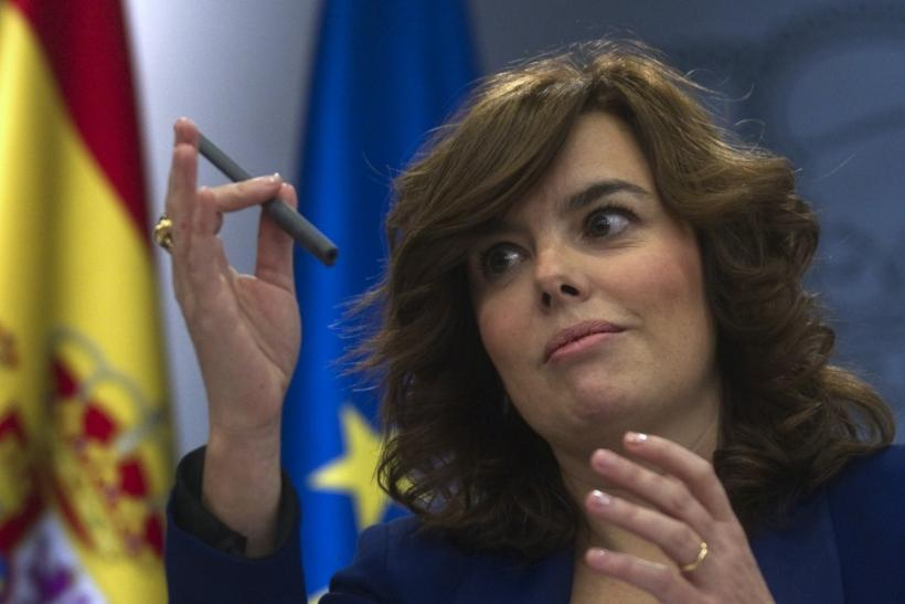Spain's Deputy Prime Minister Saenz de Santamaria gestures during a news conference after a cabinet meeting at Madrid's Moncloa Palace