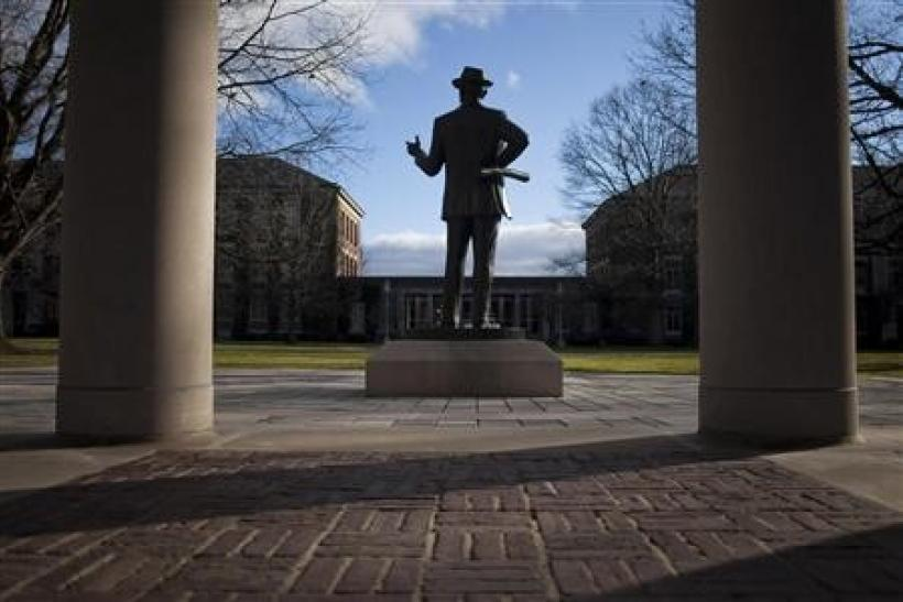 A statue of Eastman Kodak founder George Eastman stands on the University of Rochester campus in Rochester, New York, December 23, 2011.