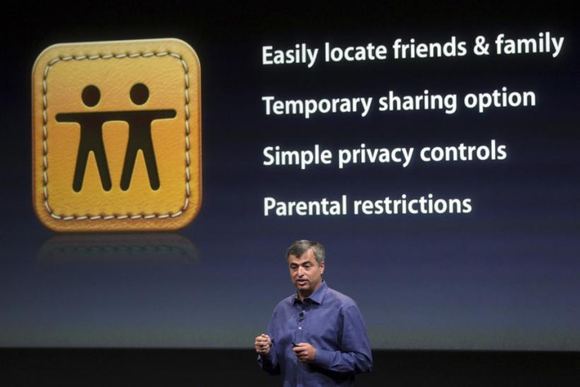 "Eddy Cue, Apple's senior vice president of Internet Software and Services, speaks about the ""Find My Friends"" app at Apple headquarters in Cupertino"