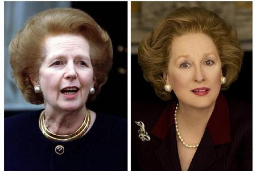 "Former Prime Minister Lady Thatcher (L) is shown in this 1997 file photo combined with a publicity photo of actress Meryl Streep portraying Thatcher in her new film ""The Iron Lady"" in this combination photo"