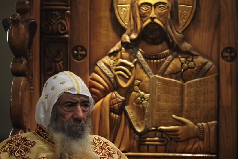 Pope Shenouda III attends the Coptic Christmas eve mass in Cairo