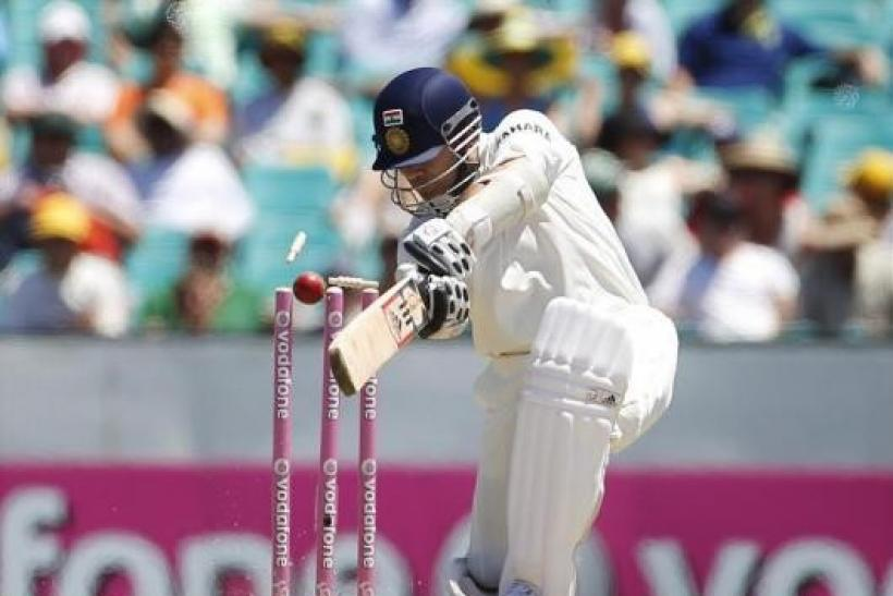 Tendulkar is bowled by Australia's Pattinson during the second cricket test in Sydney