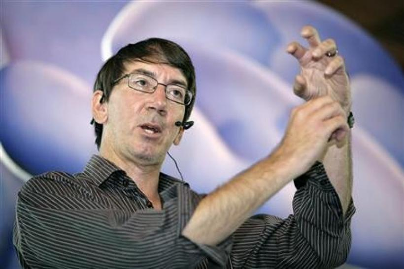 Game designer Will Wright speaks about his latest game SPORE at a promotion event in Singapore August 13, 2008.
