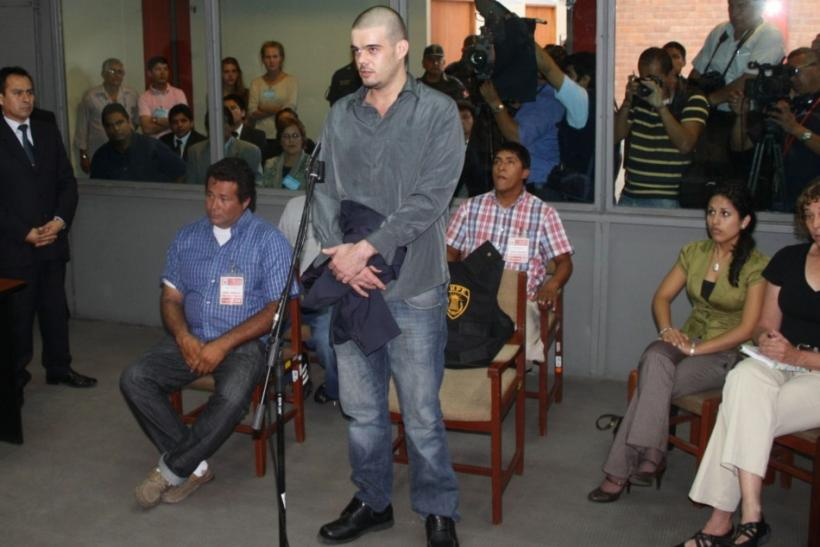 Dutch citizen Van der Sloot stands in front of a judge during his trial at the Lurigancho prison in Lima