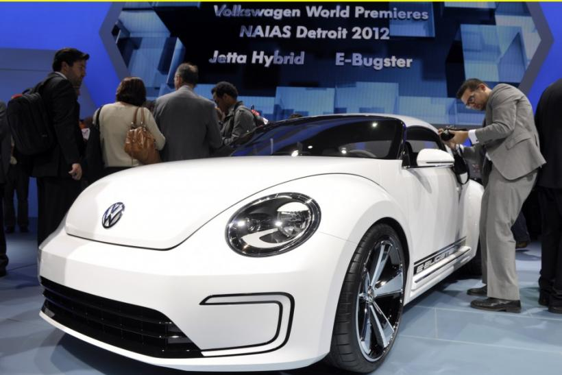 The Volkswagen E-Bugster concept car is introduced on the first press preview day for the North American International Auto Show in Detroit, Michigan, January 9, 2012.