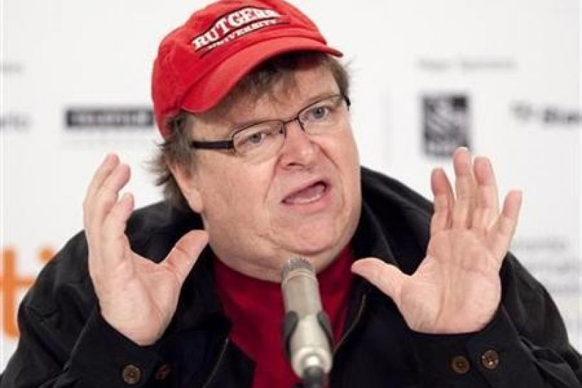 Filmmaker Michael Moore speaks about his film ''Capitalism: A Love Story'' during the 34th Toronto International Film Festival