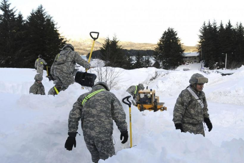 National Guard troops help shovel out snow in Cordova