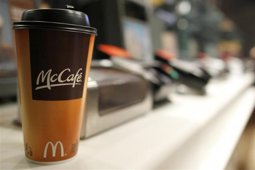 A cup of coffee is seen on a counter at a McDonald's restaurant in New York