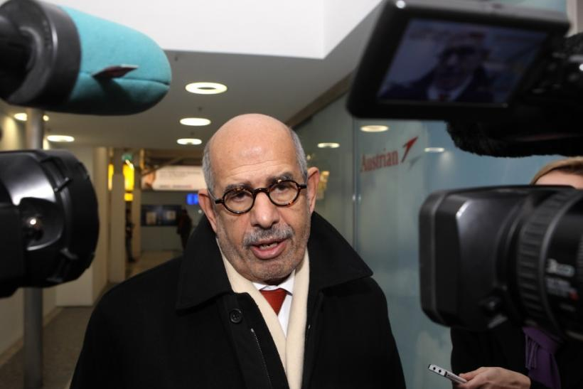 Prominent Egyptian reform campaigner Mohamed ElBaradei talks to journalists before leaving Vienna to Cairo at the Vienna airoirt, January 27, 2011.