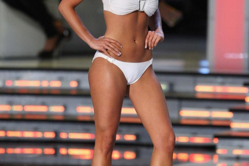 Miss Wisconsin Laura Kaeppeler competes in the swimsuit portion of the 2012 Miss America Pageant in Las Vegas